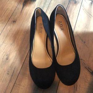 ANA Black Wedge Heels 7 1/2 NEVER WORN
